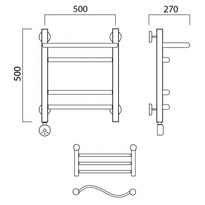 Электрический полотенцесушитель Роснерж Волна L201110 50x50 с полкой групповой