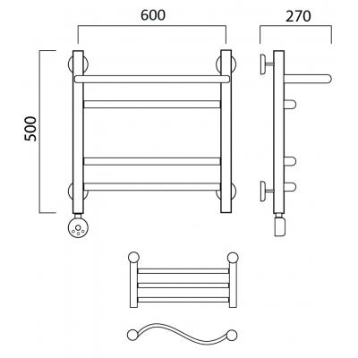 Электрический полотенцесушитель Роснерж Волна L201110 50x60 с полкой групповой