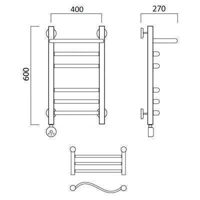 Электрический полотенцесушитель Роснерж Волна L201110 60x40 с полкой групповой