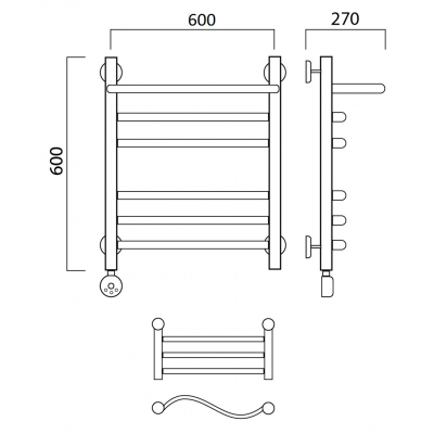 Электрический полотенцесушитель Роснерж Волна L201110 60x60 с полкой групповой