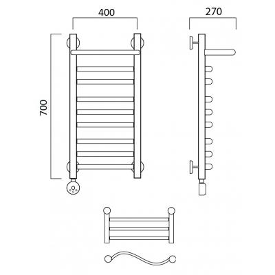 Электрический полотенцесушитель Роснерж Волна L201110 70x40 с полкой групповой