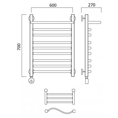 Электрический полотенцесушитель Роснерж Волна L201110 70x60 с полкой групповой