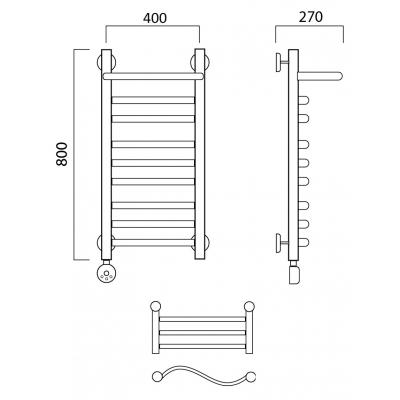 Электрический полотенцесушитель Роснерж Волна L201110 80x40 с полкой групповой