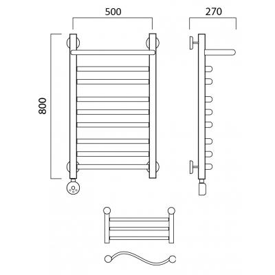 Электрический полотенцесушитель Роснерж Волна L201110 80x50 с полкой групповой