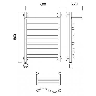 Электрический полотенцесушитель Роснерж Волна L201110 80x60 с полкой групповой