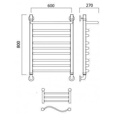Водяной полотенцесушитель Роснерж Волна L101110 80x60 с полкой групповой