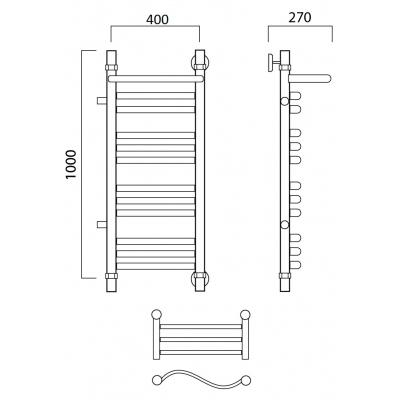 Водяной полотенцесушитель Роснерж Волна L101111 100x40 с полкой и боковым подключением групповой