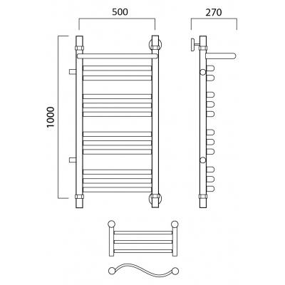 Водяной полотенцесушитель Роснерж Волна L101111 100x50 с полкой и боковым подключением групповой