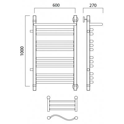 Водяной полотенцесушитель Роснерж Волна L101111 100x60 с полкой и боковым подключением групповой
