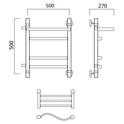 Водяной полотенцесушитель Роснерж Волна L101111 50x50 с полкой и боковым подключением групповой