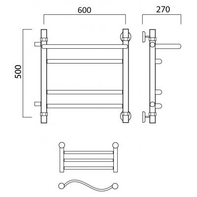 Водяной полотенцесушитель Роснерж Волна L101111 50x60 с полкой и боковым подключением групповой