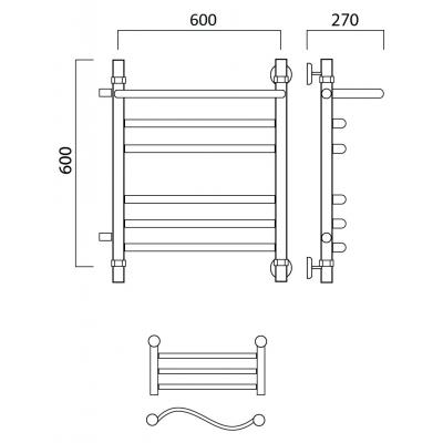 Водяной полотенцесушитель Роснерж Волна L101111 60x60 с полкой и боковым подключением групповой