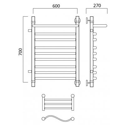 Водяной полотенцесушитель Роснерж Волна L101111 70x60 с полкой и боковым подключением групповой