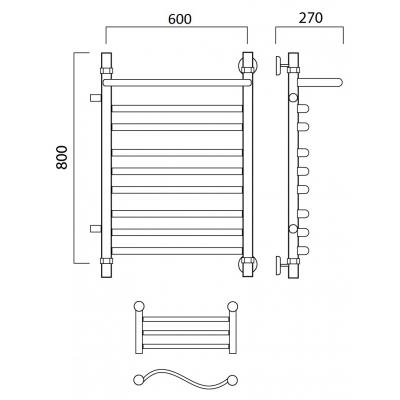 Водяной полотенцесушитель Роснерж Волна L101111 80x60 с полкой и боковым подключением групповой