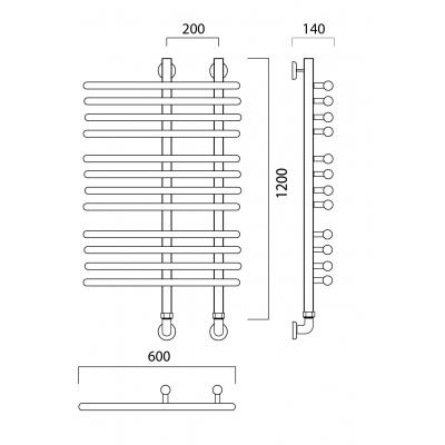 Водяной полотенцесушитель Роснерж NEO 3 L110000 120x60 групповой