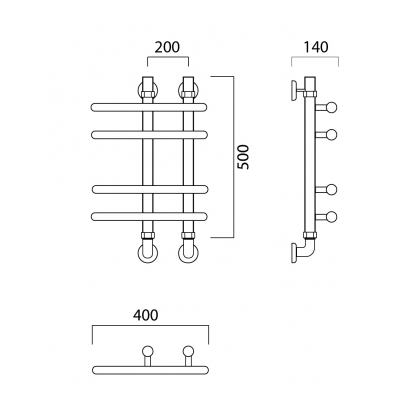 Водяной полотенцесушитель Роснерж NEO 3 L110000 50x40 групповой