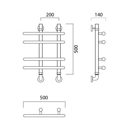 Водяной полотенцесушитель Роснерж NEO 3 L110000 50x50 групповой