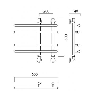 Водяной полотенцесушитель Роснерж NEO 3 L110000 50x60 групповой