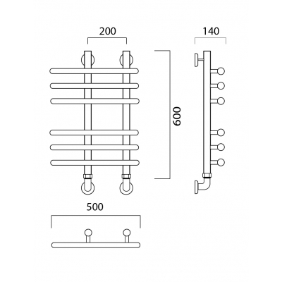 Водяной полотенцесушитель Роснерж NEO 3 L110000 60x50 групповой