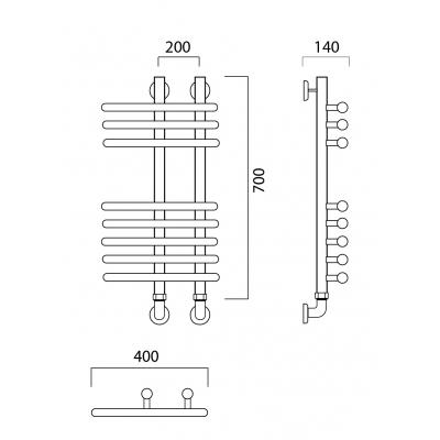 Водяной полотенцесушитель Роснерж NEO 3 L110000 70x40 групповой