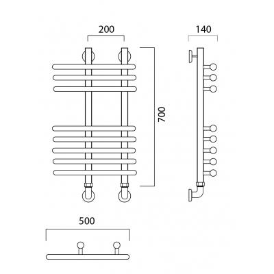 Водяной полотенцесушитель Роснерж NEO 3 L110000 70x50 групповой