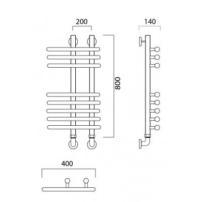 Водяной полотенцесушитель Роснерж NEO 3 L110000 80x40 групповой