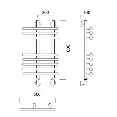 Водяной полотенцесушитель Роснерж NEO 3 L110000 80x50 групповой