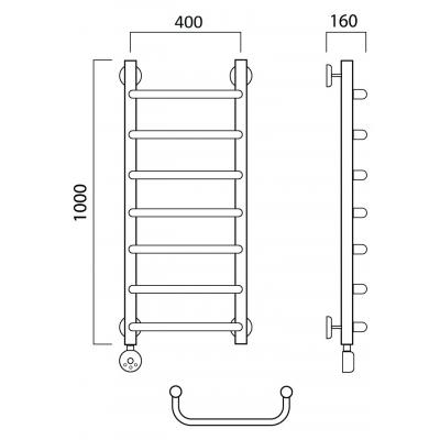 Электрический полотенцесушитель Роснерж Скоба L202000 100x40