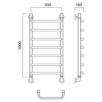 Водяной полотенцесушитель Роснерж Скоба L102000 100x50