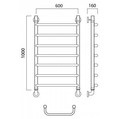 Водяной полотенцесушитель Роснерж Скоба L102000 100x60