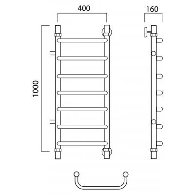 Водяной полотенцесушитель Роснерж Скоба L102001 100x40 с боковым подключением