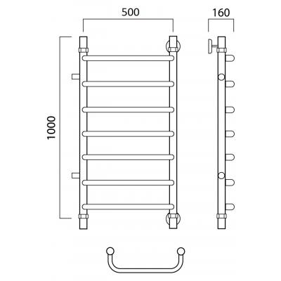 Водяной полотенцесушитель Роснерж Скоба L102001 100x50 с боковым подключением