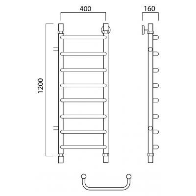 Водяной полотенцесушитель Роснерж Скоба L102001 120x40 с боковым подключением