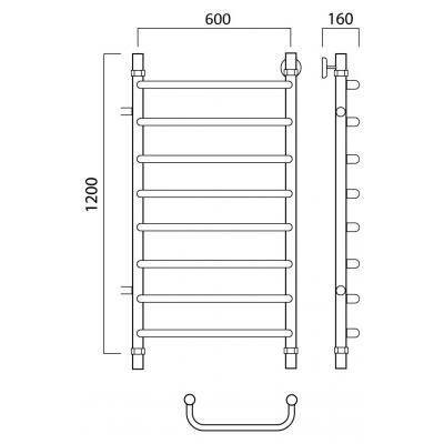 Водяной полотенцесушитель Роснерж Скоба L102001 120x60 с боковым подключением