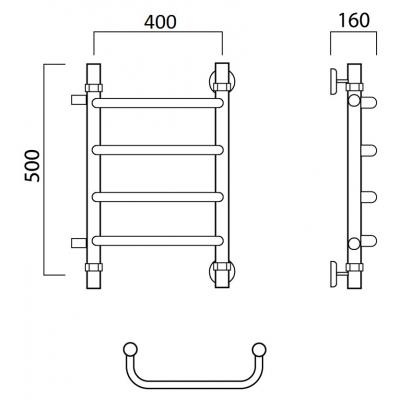 Водяной полотенцесушитель Роснерж Скоба L102001 50x40 с боковым подключением
