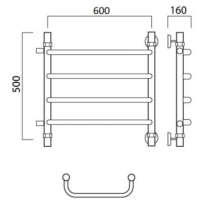 Водяной полотенцесушитель Роснерж Скоба L102001 50x60 с боковым подключением