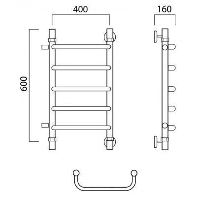 Водяной полотенцесушитель Роснерж Скоба L102001 60x40 с боковым подключением