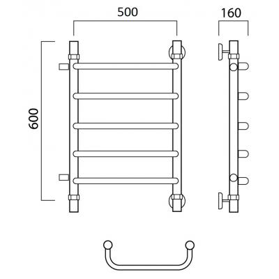 Водяной полотенцесушитель Роснерж Скоба L102001 60x50 с боковым подключением