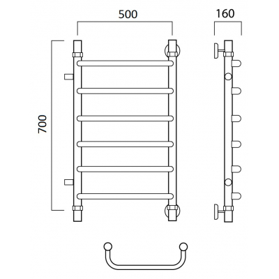 Водяной полотенцесушитель Роснерж Скоба L102001 70x50 с боковым подключением