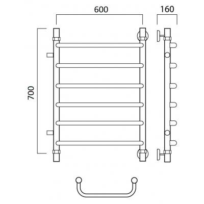 Водяной полотенцесушитель Роснерж Скоба L102001 70x60 с боковым подключением