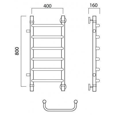 Водяной полотенцесушитель Роснерж Скоба L102001 80x40 с боковым подключением