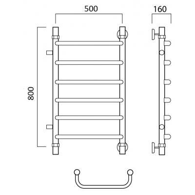 Водяной полотенцесушитель Роснерж Скоба L102001 80x50 с боковым подключением
