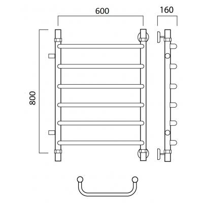 Водяной полотенцесушитель Роснерж Скоба L102001 80x60 с боковым подключением