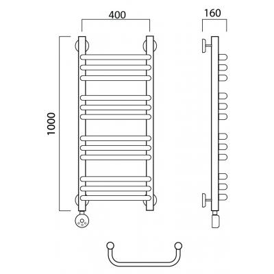 Электрический полотенцесушитель Роснерж Скоба L202010 100x40 групповой