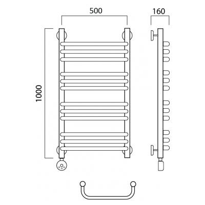 Электрический полотенцесушитель Роснерж Скоба L202010 100x50 групповой