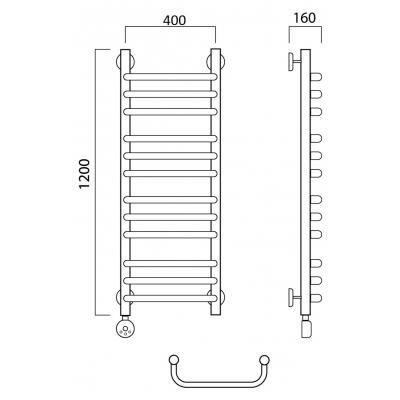 Электрический полотенцесушитель Роснерж Скоба L202010 120x40 групповой