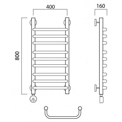 Электрический полотенцесушитель Роснерж Скоба L202010 80x40 групповой