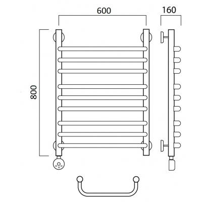 Электрический полотенцесушитель Роснерж Скоба L202010 80x60 групповой