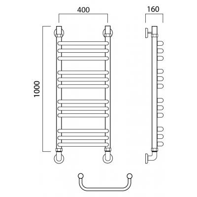 Водяной полотенцесушитель Роснерж Скоба L102010 100x40 групповой