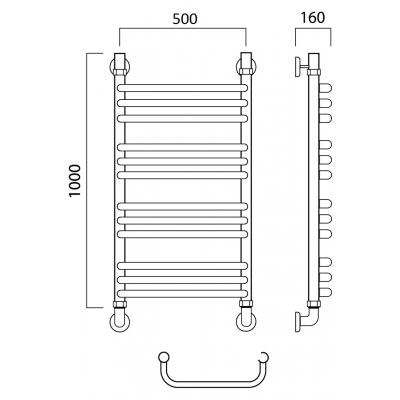 Водяной полотенцесушитель Роснерж Скоба L102010 100x50 групповой